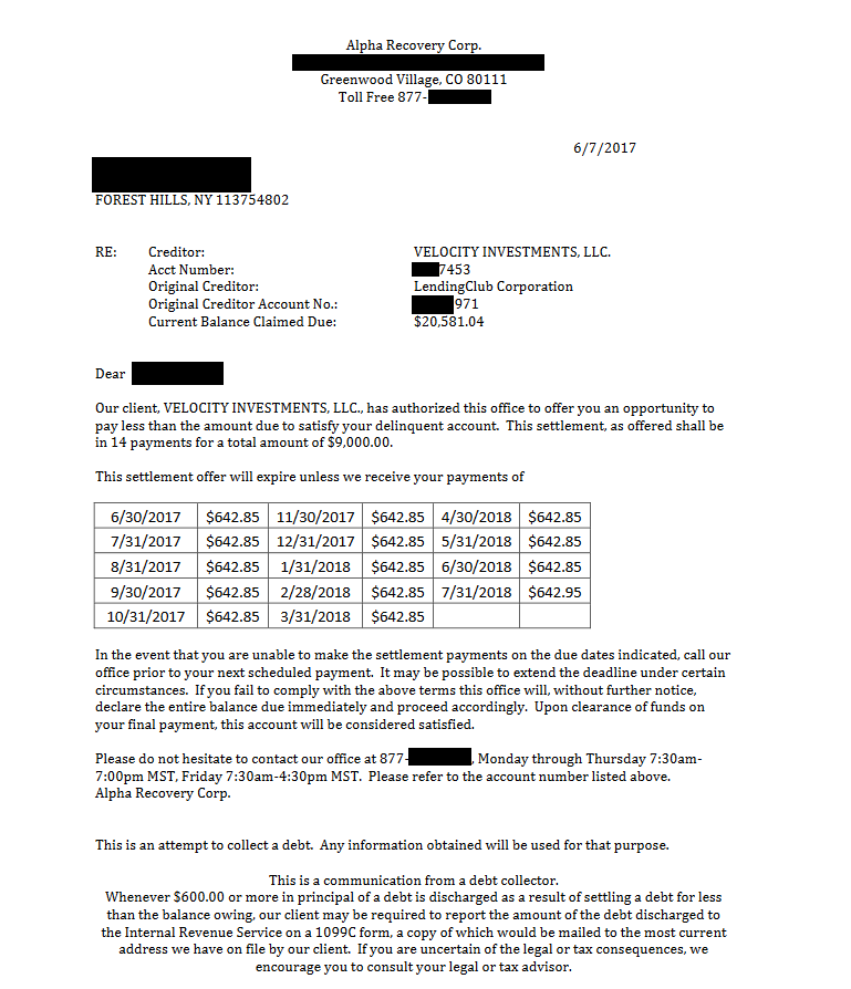 Image of a settlement letter with Lending Club with savings of 11,581 dollars