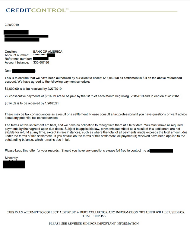 Settlement Letter With Bank Of America  Client Saved 45